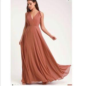 Lulu's Rusty Rose Backless Maxi Dress - XS